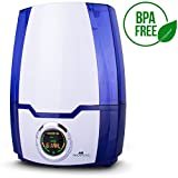 Air Innovations MH-505 505A Cool Mist Digital Humidifier with Aromatherapy 1.37 Gallons for Large Rooms Up to 400 Square Feet, White/Blue