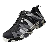 SUADEX Steel Toe Shoes Men, Womens Work Safety Shoes Industrial Construction Sneakers, Outdoor Hiking Trekking Trail Composite Shoes Camouflage Grey Size 12.5 Women / 11 Men