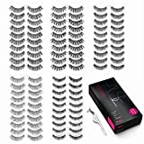 Eliace 50 Pairs False eyelashes 5 Styles Wispies Fake Eyelashes with Tweezers