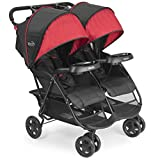 Kolcraft Cloud Plus Lightweight Double Stroller - 5-Point Safety System, Red/Black