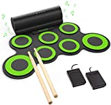 PAXCESS Electronic Drum Set, Roll Up Drum Practice Pad...