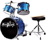 Music Alley 3 Piece Kids Drum Set with Throne, Cymbal,...