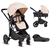 Costzon Infant Stroller, 2-in-1 Convertible Bassinet,...