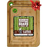 Organic Bamboo Cutting Board Set of 3 - Durable Thick...