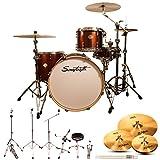 Sawtooth Command Series 4-Piece Drum Shell Pack with 24' Bass Drum, ChromaCast Hardware & Zildjian ZBT Cymbals, Red Streak